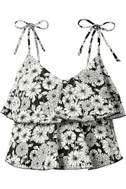 Imaan ruffled printed stretch-crepe bikini top