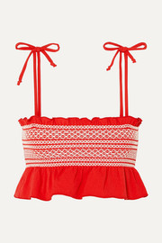 Lisa Marie Fernandez Selena smocked stretch-crepe bikini top