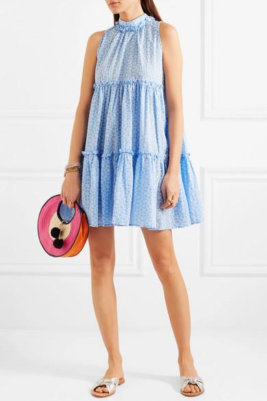 Lisa Marie Fernandez Erica Minikleid aus Baumwolle mit Lochstickerei und Rüschen