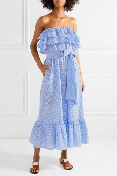 Lisa Marie Fernandez Sabine Kleid aus Baumwolle mit Lochstickerei und Rüschen