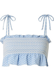 Lisa Marie Fernandez Selena smocked polka-dot stretch-crepe bikini top