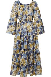 Floral-print cotton-voile dress