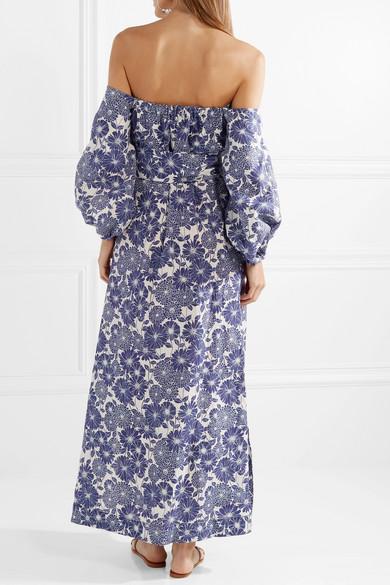 Lisa Marie Fernandez Rosie schulterfreies Maxikleid aus Leinen mir floralem Print