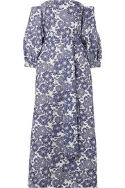 Rosie off-the-shoulder floral-print linen maxi dress