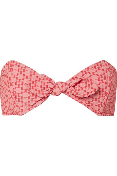 Lisa Marie Fernandez - Poppy Two-tone Seersucker Bikini Top - Red