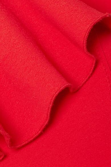 Lisa Marie Fernandez Arden Badeanzug aus Stretch-Crêpe mit asymmetrischer Schulterpartie und Volant