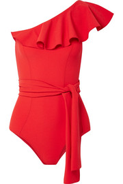 Lisa Marie Fernandez Arden ruffled one-shoulder stretch-crepe swimsuit