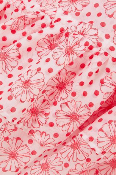 Lisa Marie Fernandez Laura Kleid aus bedrucktem Baumwoll-Voile mit Rüschen