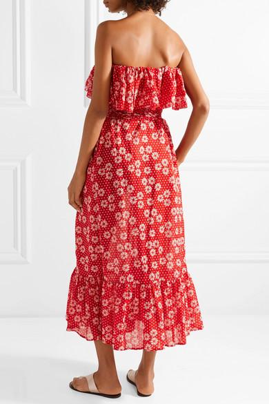 Lisa Marie Fernandez Sabine schulterfreies Kleid aus bedrucktem Baumwoll-Voile