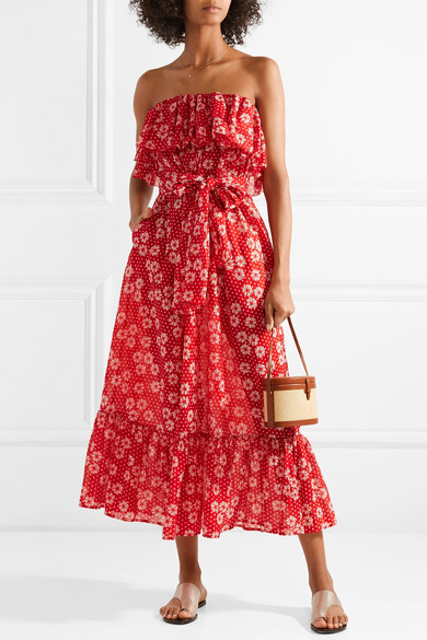 Sabine Strapless Printed Cotton-voile Maxi Dress - Red Lisa Marie Fernandez Vfni2EA