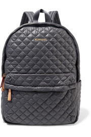 MZ Wallace Metro medium leather-trimmed quilted shell backpack