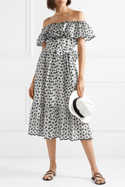 Lisa Marie Fernandez Mira off-the-shoulder broderie anglaise cotton midi dress