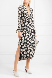 Printed silk-georgette midi dress