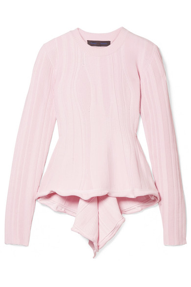Proenza Schouler - Ribbed Stretch-knit Peplum Sweater - Baby pink
