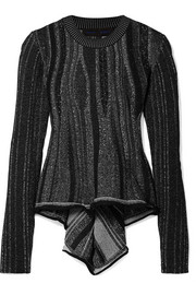 Ribbed stretch-knit peplum sweater