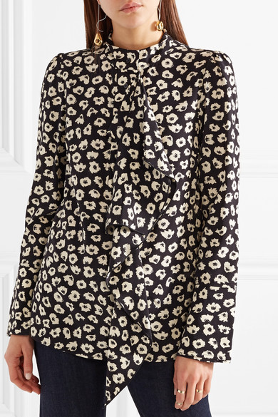 Proenza Schouler Bluse aus Crêpe de Chine aus Seide mit Blumendruck und Rüschen