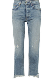 GRLFRND Helena cropped distressed high-rise straight-leg jeans