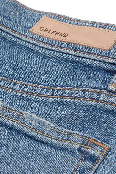 GRLFRND Helena verkürzte, halbhohe Jeans mit geradem Bein in Distressed-Optik