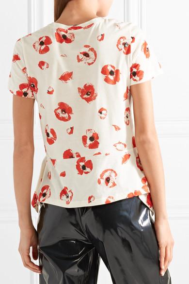 Proenza Schouler Drapiertes T-Shirt aus Baumwoll-Jersey mit Blumendruck