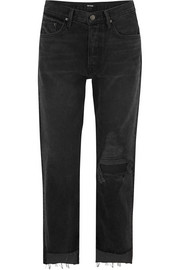 GRLFRND Helena distressed high-rise straight-leg jeans
