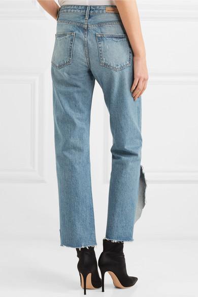 GRLFRND Maran halbhohe Jeans mit geradem Bein in Distressed-Optik
