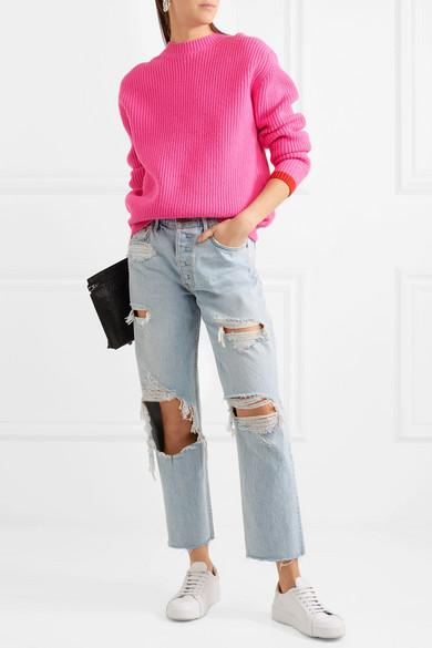 GRLFRND Helena hoch sitzende Jeans mit geradem Bein in Distressed-Optik