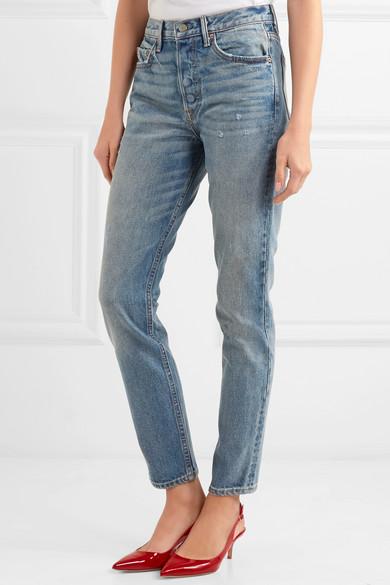 GRLFRND Karolina hoch sitzende Skinny Jeans in Distressed-Optik