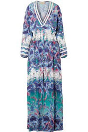 Caroline smocked printed voile maxi dress