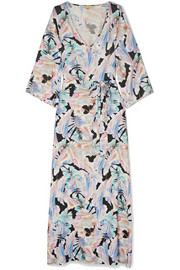 Becky belted printed voile maxi dress
