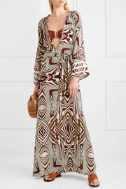Loulou crochet-trimmed printed poplin maxi dress