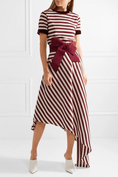 Johanna Ortiz Piñon Kleid aus gestreiftem Waffelstrick mit Schleife und Samtbesatz