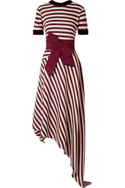 Pinon bow-embellished velvet-trimmed striped waffle-knit dress