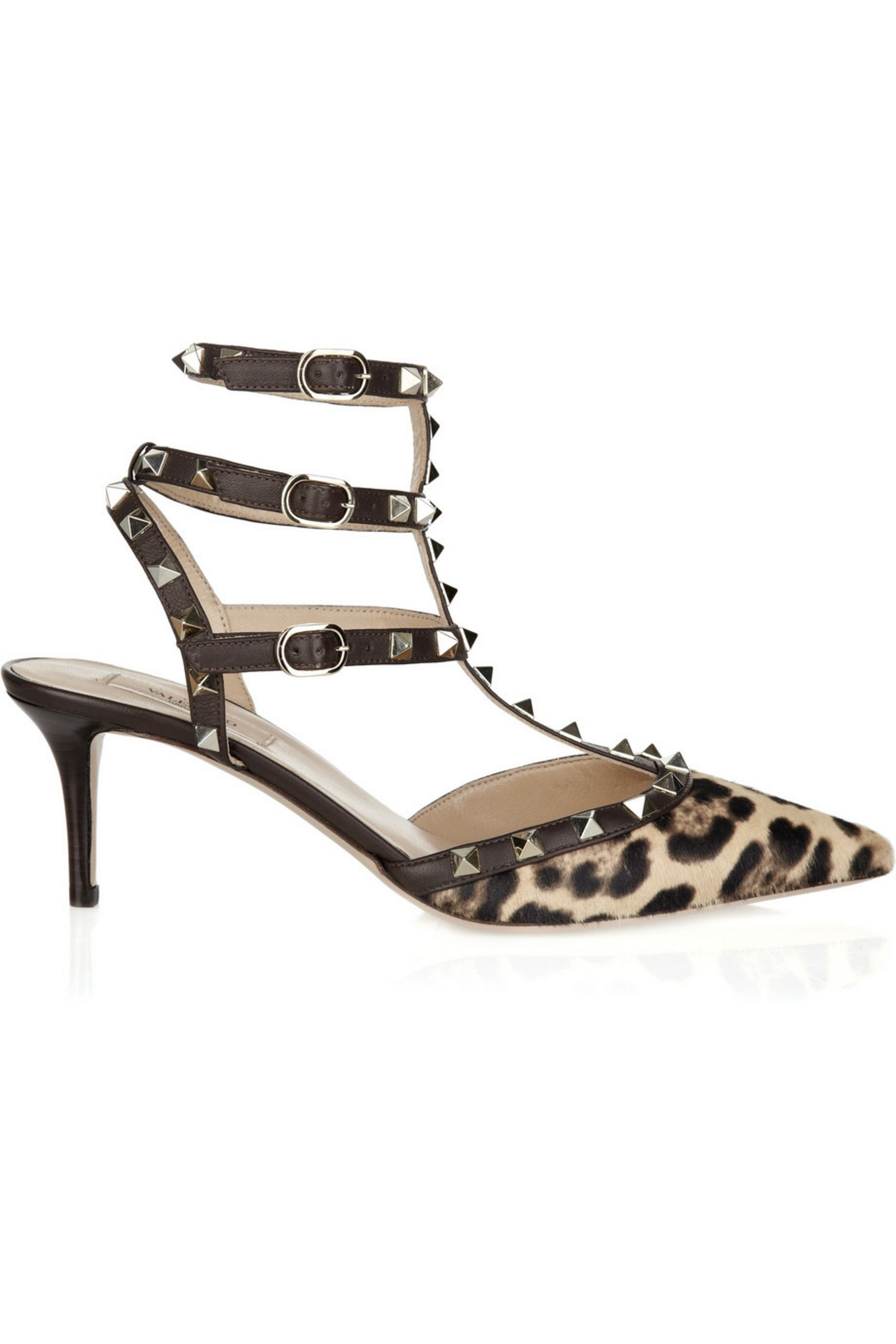 Valentino Studded calf hair kitten heel sandals