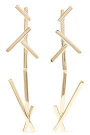 + La Ligne Slash Duster gold-plated earrings