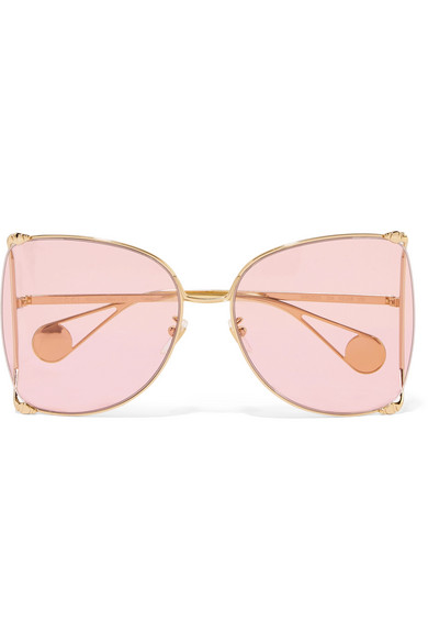 7abdb341fe762 Gucci. Oversized square-frame gold-tone and acetate sunglasses