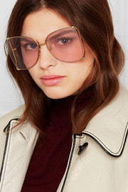 Oversized square-frame gold-tone and acetate sunglasses