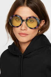 Round-frame glittered acetate sunglasses