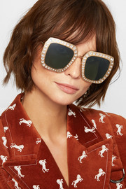 Gucci Crystal-embellished square-frame gold-tone sunglasses