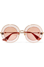Round-frame printed acetate and gold-tone sunglasses