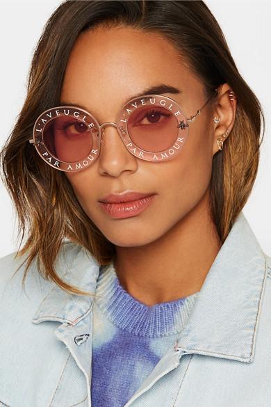 26c31fc3154 Gucci. Round-frame printed acetate and gold-tone sunglasses