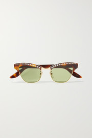 Pixie crystal-embellished gold-tone and acetate cat-eye sunglasses