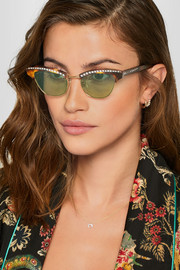 Gucci Pixie crystal-embellished gold-tone and acetate cat-eye sunglasses