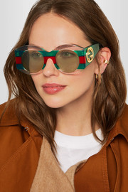 Round-frame striped acetate sunglasses