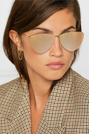 Alexander McQueen Aviator-style rose gold-tone mirrored sunglasses