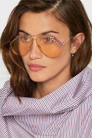 Crystal-embellished aviator-style gold-tone sunglasses
