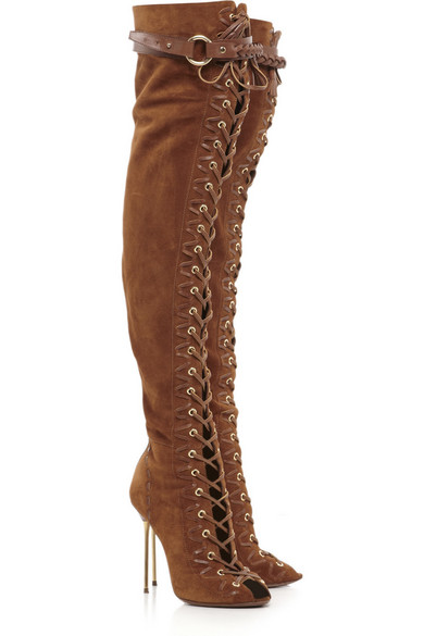 Lace up suede thigh boots