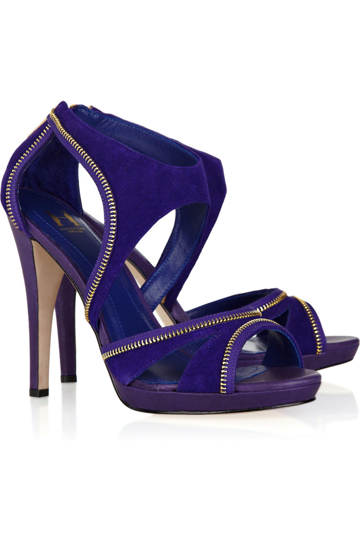 Halston Stella zip-detailed suede sandals