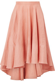 Gale pleated linen midi skirt