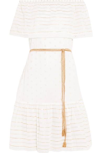 Miguelina Amaya schulterfreies Kleid aus Jacquard aus einer Baumwollmischung in Metallic-Optik