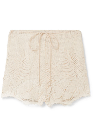Miguelina YARA CROCHETED COTTON-LACE SHORTS